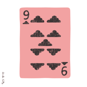 A playing card with clouds instead of clubs. The card nine of clubs