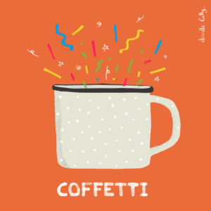 A cup of coffee with confetti exploding out of it called Coffetti