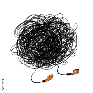 An illustrated knot of earphone earplug headphone cables
