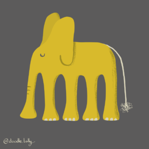 Yellow elephant illustration ink