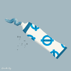 An illustration of a tube of toothpaste with the London underground Victoria line logo on it.